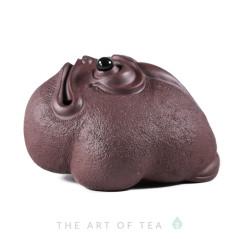 Чайная фигурка Удивленная жаба, бордовая, глина