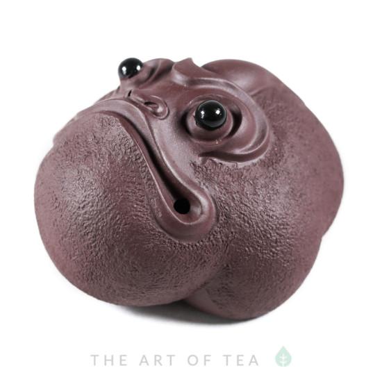 Фигурка Удивленная жаба, бордовая, глина
