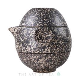 Набор походный S45, Яйцо-трансформер, коричневый, глина, глазурь