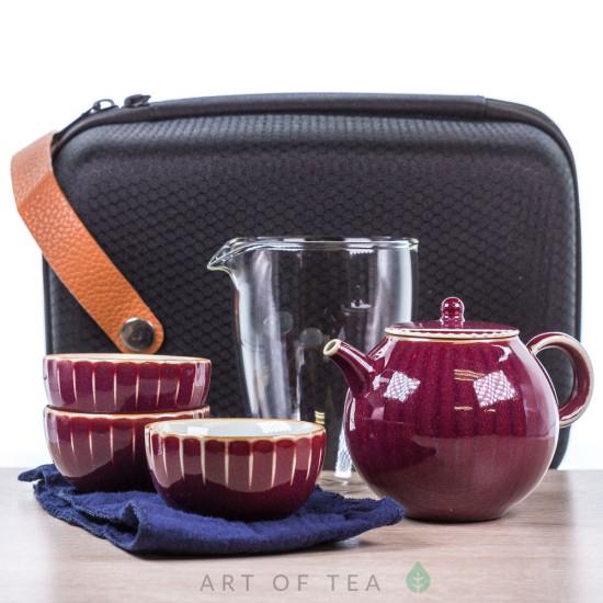 Набор походный с чайником s55, бордовый