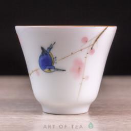 Пиала Синяя птица 685, ручная роспись, 45 мл