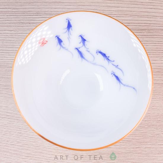 Пиала Синие Рыбки 686, ручная роспись, 65 мл