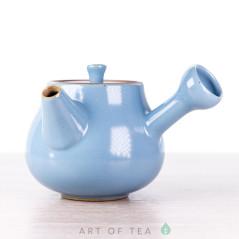 Чайник с боковой ручкой, голубой, керамика Дэхуа, 70 мл