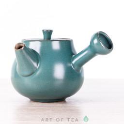 Чайник с боковой ручкой, бирюзовый, керамика Дэхуа, 70 мл
