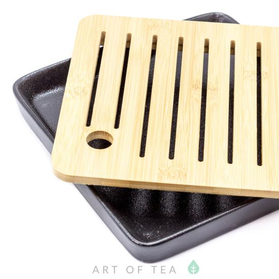 Чабань Квадрат, черная, керамика, бамбук, 21*21 см
