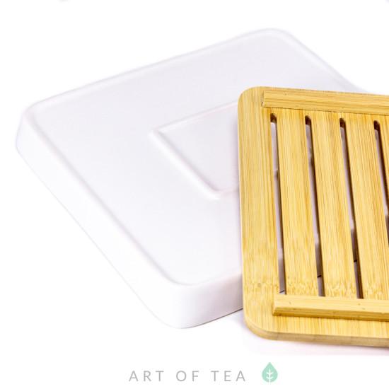 Чабань Квадрат, белая, керамика, бамбук, 21*21 см