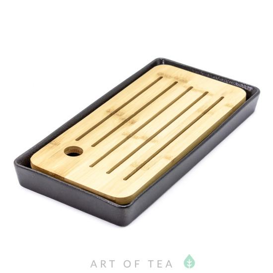 Чабань #78, керамика, бамбук, черная, 27*14 см