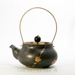 Чайник Золотой Шов, керамика, глазурь, 160 мл