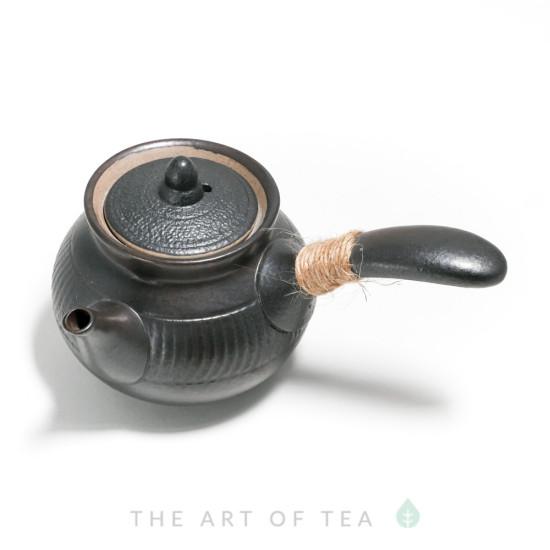 Чайник с боковой ручкой, керамика, черный, 255 мл