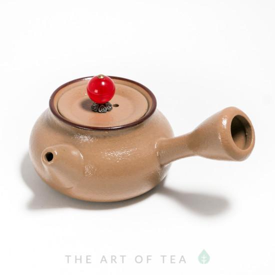 Чайник к66, бежевый, глина, глазурь, 115 мл