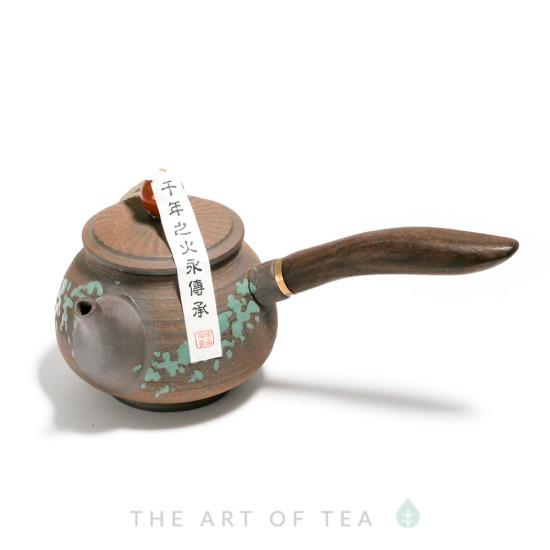 Чайник к68 с боковой ручкой, глина, дерево, 145 мл