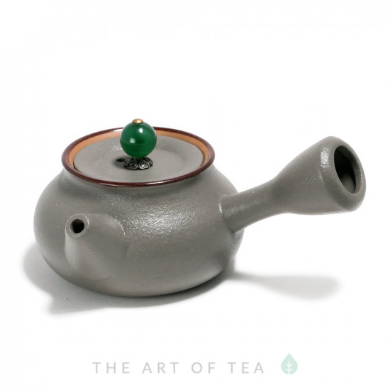 Чайник к65, серый, глина, глазурь, 115 мл