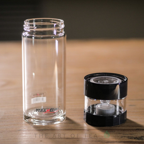 Бутылка заварочная с кнопкой, двойное стекло, 400 мл