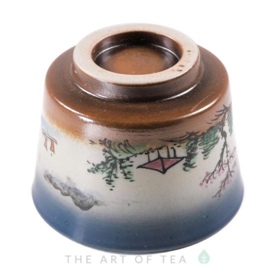 Пиала ручная роспись P377, глина, глазурь, 100 мл