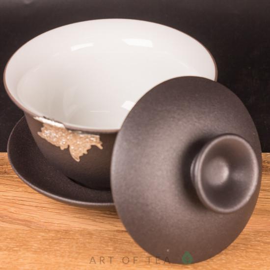 Набор посуды S72, Чёрный с листом, с гайванью, 9 предметов