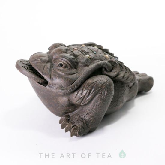 Чайная фигурка Жаба Богатства, темная, глина