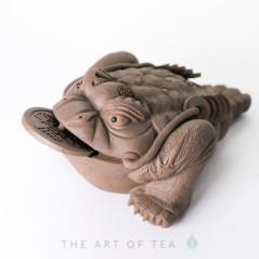 Чайная фигурка Жаба Богатства, серая, большая, глина
