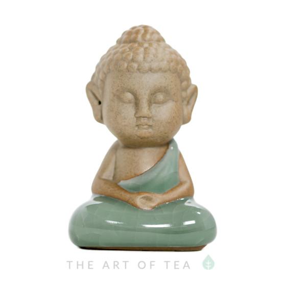 Чайная фигурка Монах, в позе лотоса, глина, глазурь