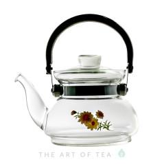 """Чайник для воды """"Хризантема"""", огнеупорное стекло, 600 мл"""