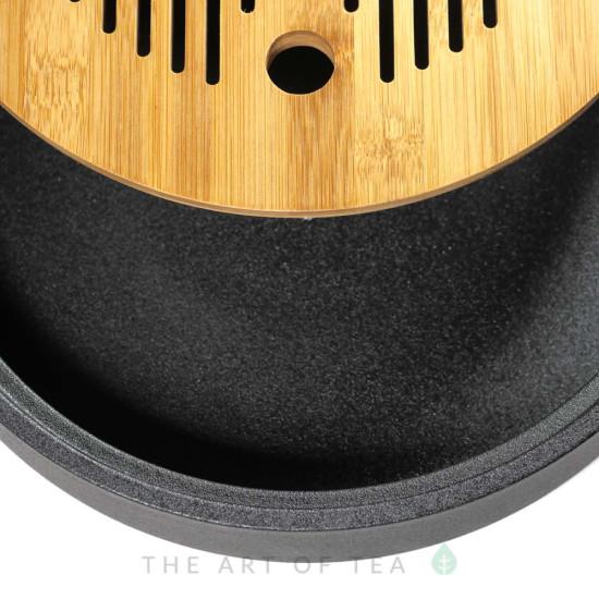 Чабань Круг, черная, керамика, бамбук, 25 см