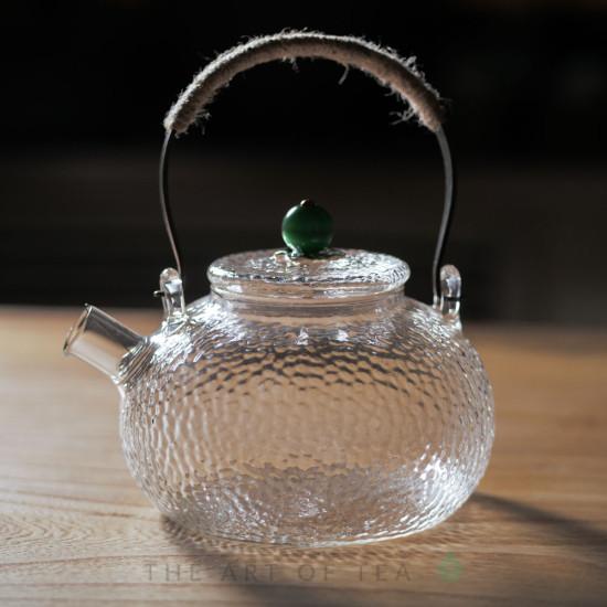 Чайник из закаленного стекла #2, ручная работа, 650 мл
